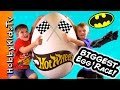 Worlds BIGGEST HOT WHEELS Egg! Surprises Batman Robin Wolverine Ironman SuperHero RACE HobbyKidsTV