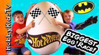 Giant HOT WHEELS Egg with SuperHero RACE