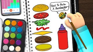 How to draw a hamburger | draw & play | Coloring & Drawing for Kids