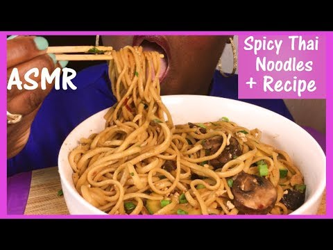 ASMR SPICY 🌶 Thai Noodles 먹방 + Recipe and Eating Sounds No Talking ก๋วยเตี๋ยวเรือไทย