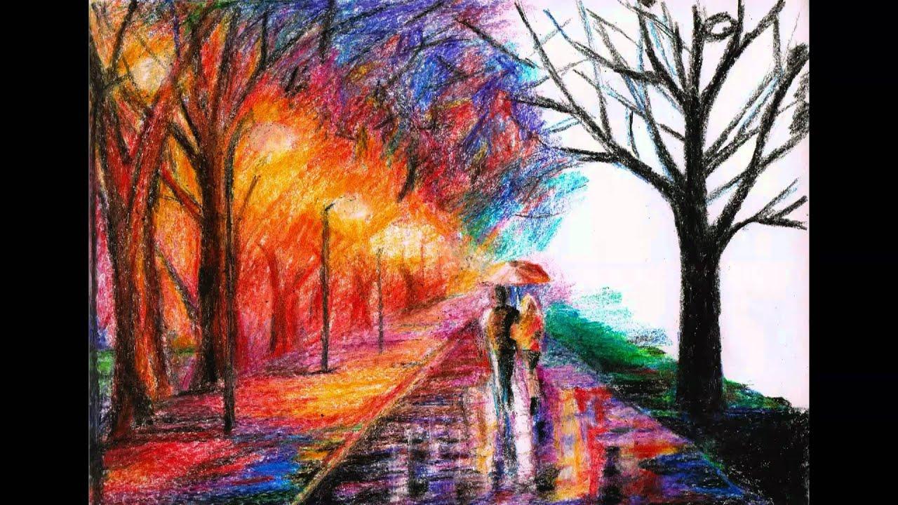 Crayon Drawing Of Leonid Afremov S Artwork Youtube