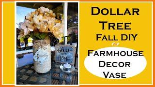Dollar Tree Farmhouse Decor Vase DIY or Candle Holder Centerpiece Fall Decor 2019