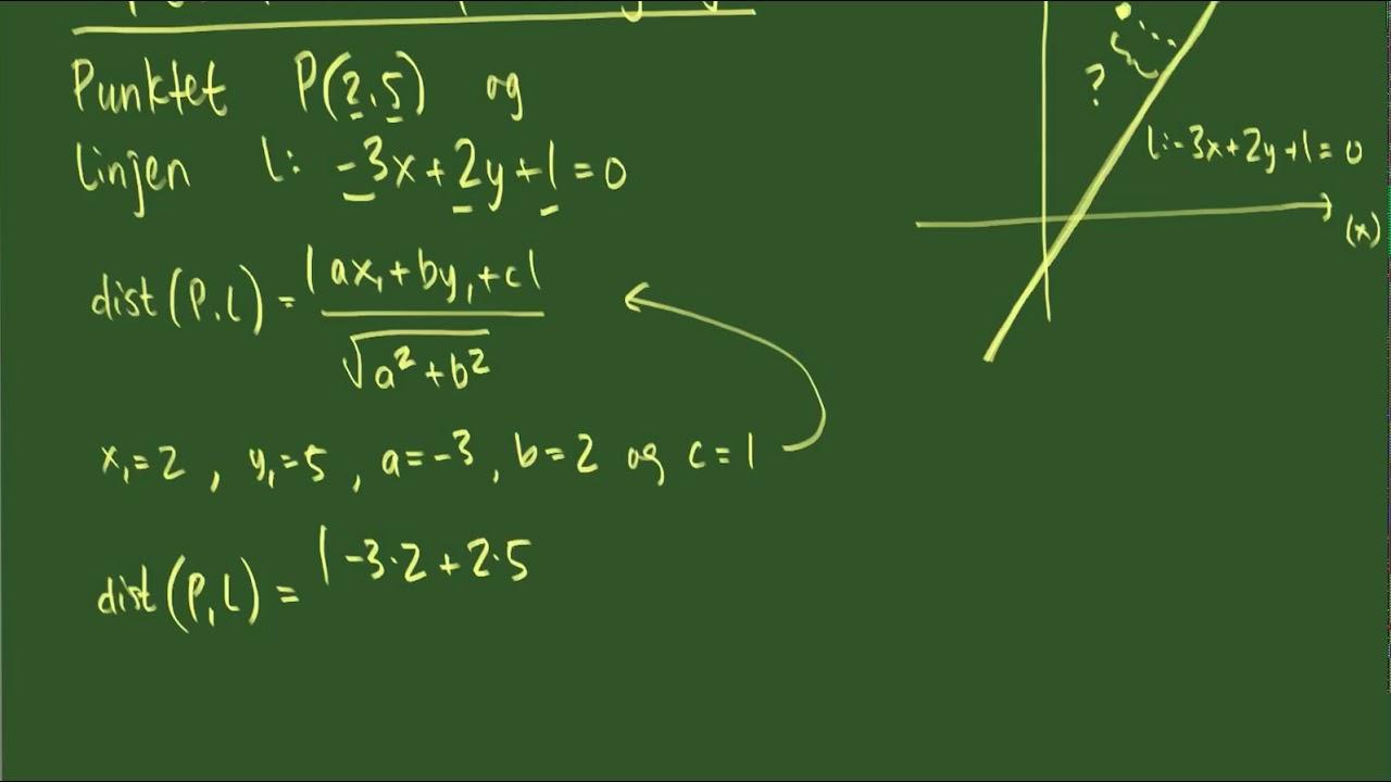 Afstand mellem punkt og linje - eksempelberegning01