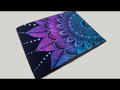 Mandala Drawing with Paint Marker & Gel Pen on Painted ...