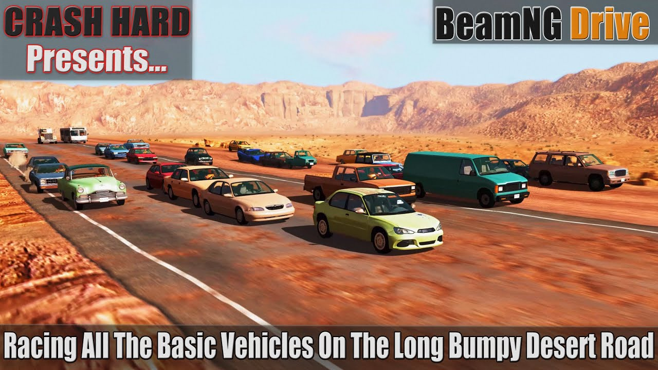 BeamNG Drive - Racing All The Basic Variants On The Long Bumpy Desert Road