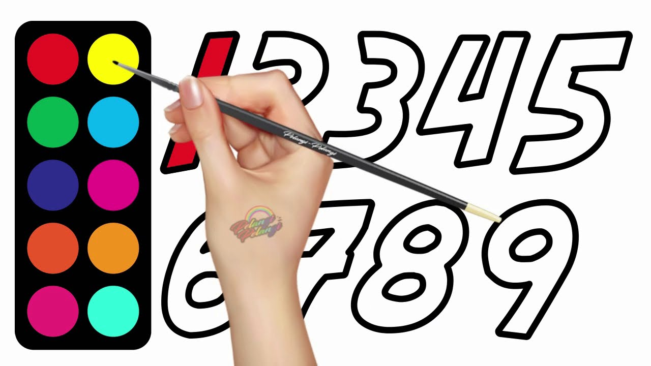 Writing And Coloring Numbers One Two Three | Learn Colors For Kids ...