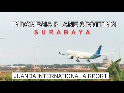 Indonesia Plane Spotting, Juanda International Airport Surabaya, Landing And Take Off Aircraft