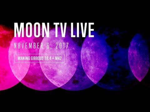 MOON TV LIVE 4K - Waning 84 + M42 Nebula - VIBRATING SPACE