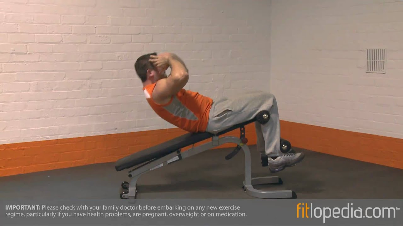 Decline Sit Up On Bench With Oblique Twist Youtube