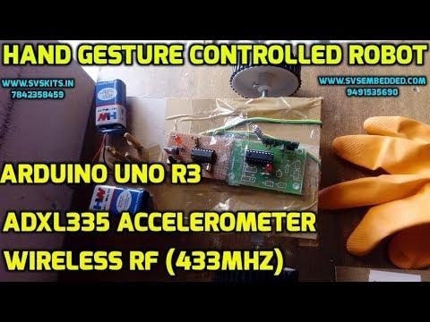 Hand Gesture Controlled Robot using Arduino   ADXL335 Accelerometer    wireless RF (433Mhz)