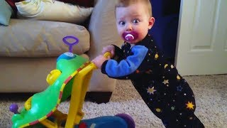 FUNNY BABY doesn't know how to work this thing - TRY NOT TO LAUGH!
