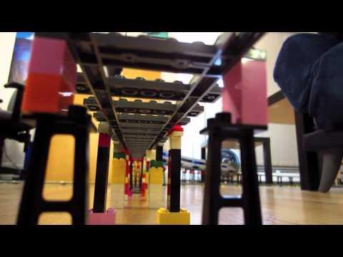 LEGO TGV & Eurostar train crash on elevated double loop layout