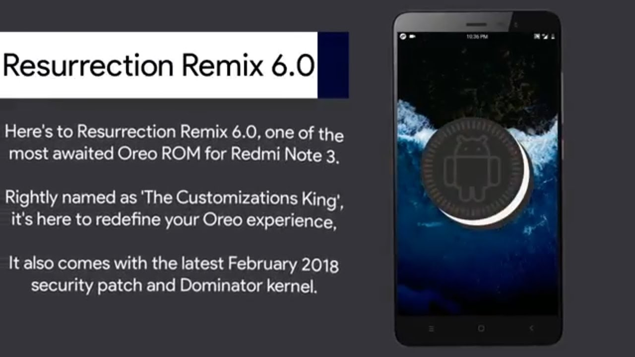 Resurrection Remix 6 0 0 Oreo 8 1 ROM for Redmi Note 3