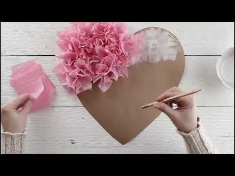 Tissue Paper Puffy Heart Valentine's Window Decoration - Easy Craft Project