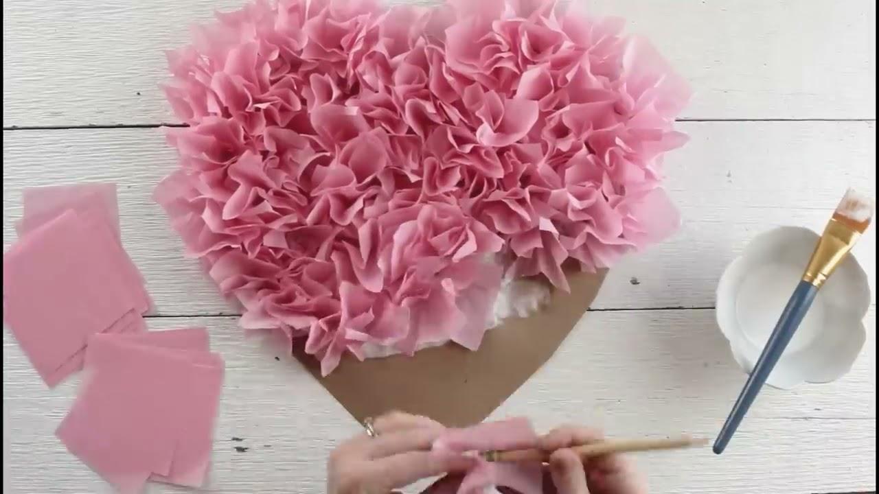 Tissue Paper Puffy Heart Valentine S Window Decoration