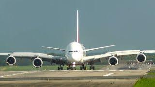 11 BIG PLANE LANDINGS - AIRBUS A380 + AIRBUS A330 LANDING on one wheel (4K)