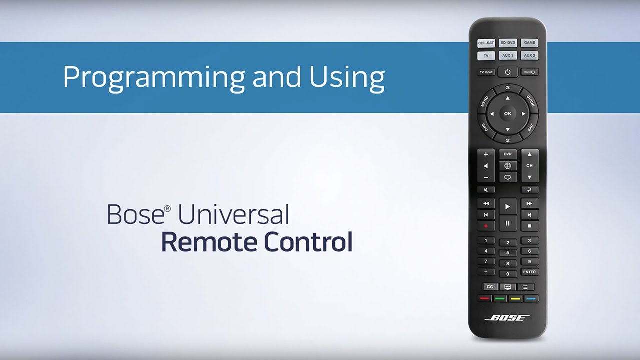 Bose Cinemate Universal Remote Programing And Using Youtube