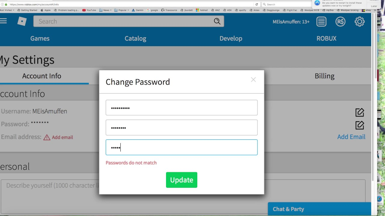 How To Change Passwords In Roblox Youtube