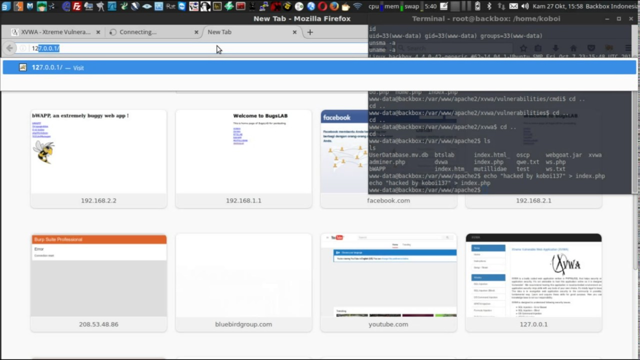 Scanning vulnerability with Burpsuite