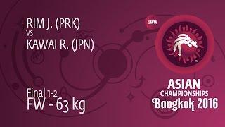GOLD FW - 63 kg: R. KAWAI (JPN) df. J. RIM (PRK) by FALL, 6-0