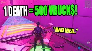 1 DEATH = 500 VBUCKS CHALLENGE! 100 Level Default Deathrun 2 (Creative Fortnite)