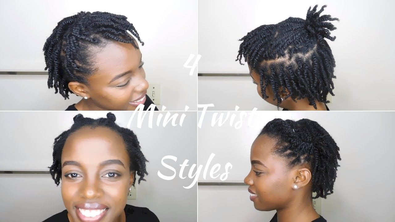 4 Quick Hairstyles For Mini Twists On Short 4c Natural Hair Youtube