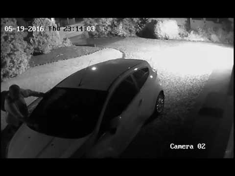 CCTV of man damaging a car in Stanford-le-Hope