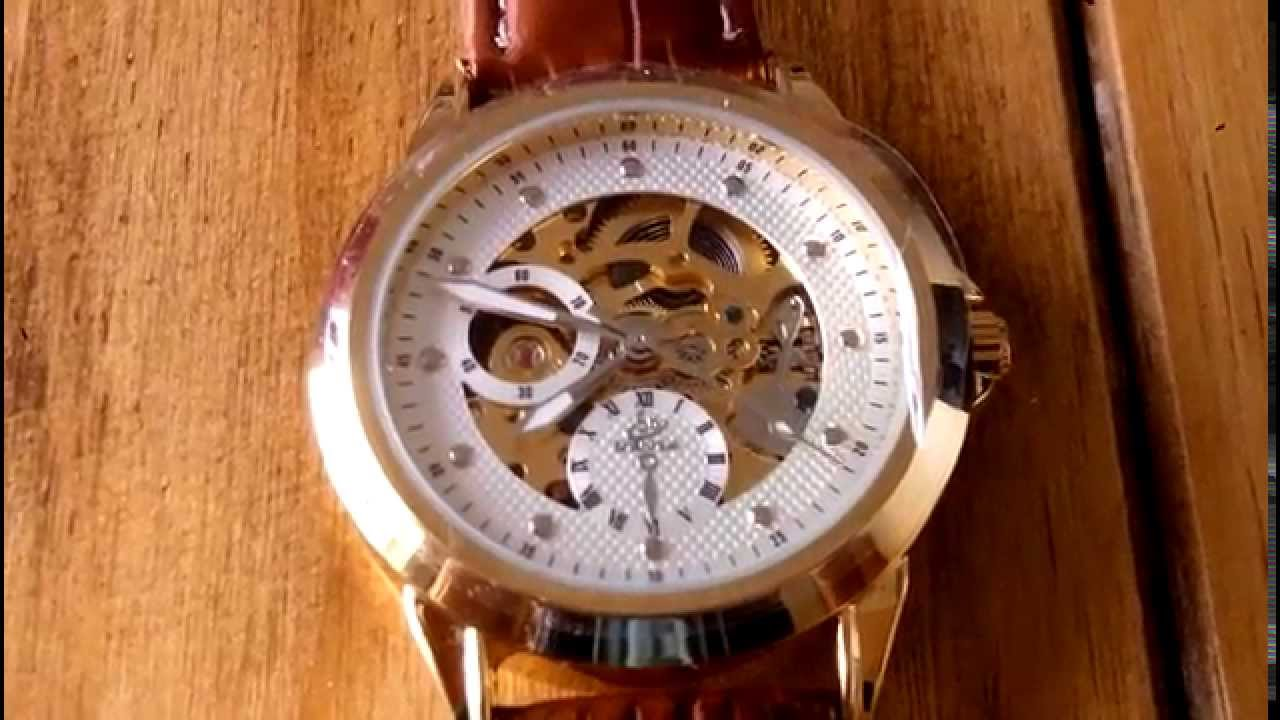 f48dff17679 Relógio Shenhua Skeleton Automático Dourado com Pulseira Marrom - YouTube