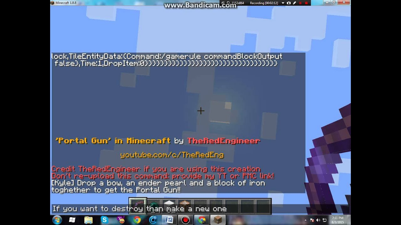 Minecraft vanilla 1 8 command creation portal gun youtube