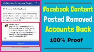 Facebook Content Posted Removed Accounts Back। Content Infringes  Copyright Issue । Solution Proved thumbnail
