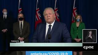 Ontario Premier Doug Ford announces entire province is going into an