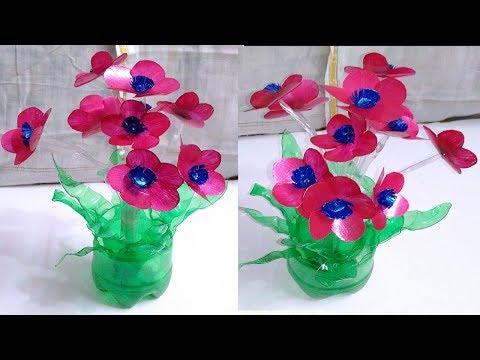 Plastic bottle art flowers Best out of Waste plastic bottles flower vase Craft