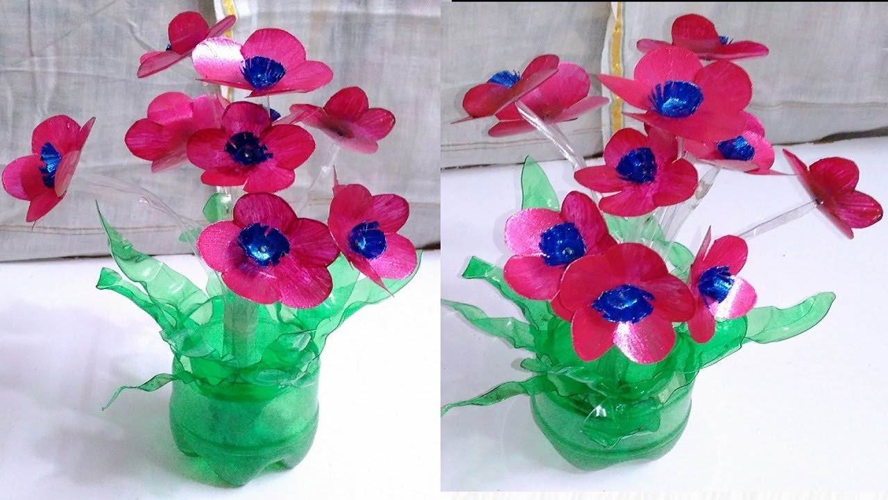 Plastic bottle art flowers best out of waste plastic for Plastic bottle vase craft