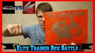 pokemon cards xy evolutions mega charizard y elite trainer box opening battle vs tbpgaming