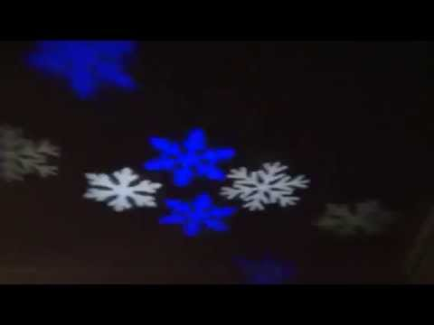 Led Christmas Projector With Blue And White Snowflake Pattern