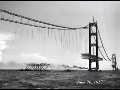A peek at the construction of the Mackinac Bridge