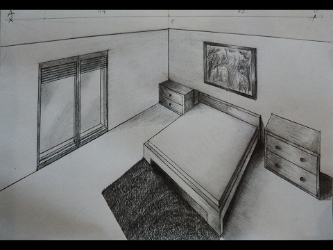how to draw bedroom with nightstand two point perspective youtube. Black Bedroom Furniture Sets. Home Design Ideas