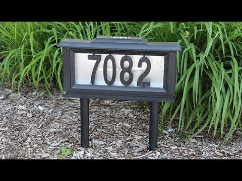 Solar Powered Light Up Street Address Sign