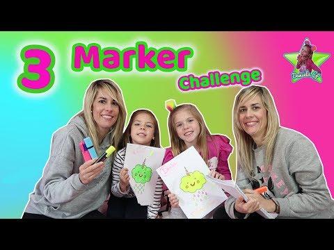 3 MARKER CHALLENGE EN FAMILIA   Coloreando Dibujos Kawaii Con 3 Rotuladores Brillantes   Daniela Go