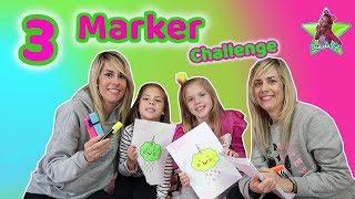 3 MARKER CHALLENGE EN FAMILIA | Coloreando Dibujos Kawaii con 3 rotuladores brillantes | Daniela Go