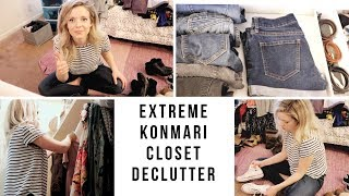 *EXTREME*CLOSET DECLUTTER & ORGANIZE | KONMARI METHOD | EM AT HOME