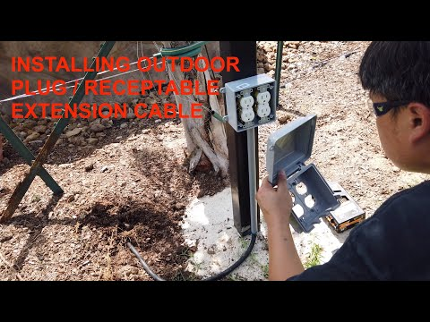 Installing Outdoor Electrical Extension Cable, Plug And Receptable (80 Foot Away)