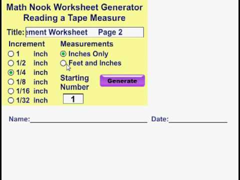 Reading a Tape Measure Worksheet Generator - YouTube