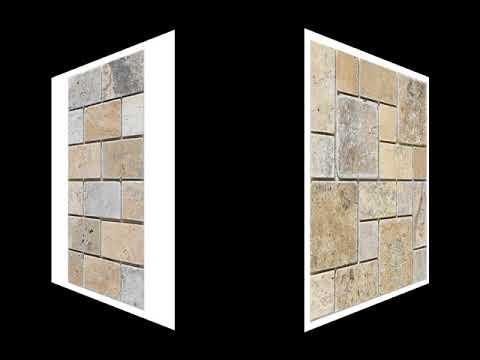 Philadelphia Scabos Travertine Brick Grid Pattern Tumbled Mesh Mounted Mosaic Tile