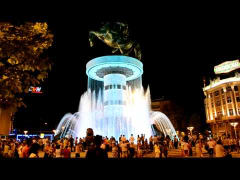 Alexander the Great Fountain, Macedonia Square - Skopje (HD)
