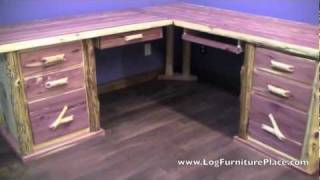 Red Cedar L Shaped Log Desk From Logfurnitureplace.com