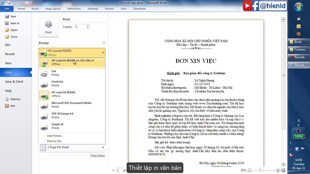 Ví dụ 1 – Tạo đơn xin việc với Microsoft Word 2010 – 2013 – 2016