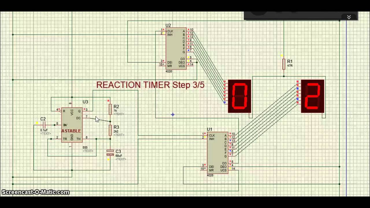 Proteus - Ic 4026 - Reaction Timer Circuit