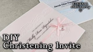 How to make a cute Christening / Baptism Invitation Card   with Swarovski elements   DIY Invitations