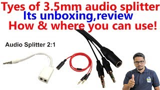 3.5mm audio splitter unboxing, review and its use(Hindi)